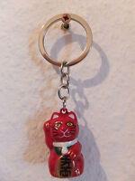 Winkekatze Maneki Neko - Schlüsselanhänger als Glöckchen - rot - Halzband