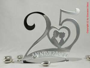 Anniversario Matrimonio Argento.Cake Topper Anniversario Matrimonio 25 Anni Nozze D Argento
