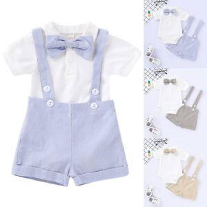 32ec2e201fa0 Toddler Baby Boy Gentleman Outfit Bowtie Romper Shirt Suspender ...