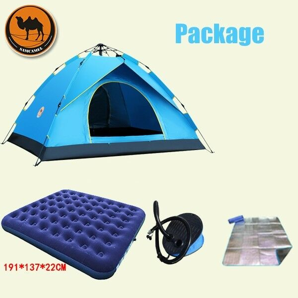 3-4 Person Tent Auto Set-up Double-Layer Family Camping Hiking Dome Tent Blue