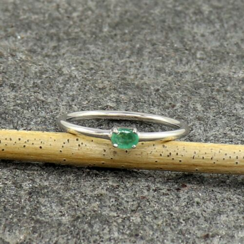 Natural Emerald 925 Sterling Silver Anniversary Gift Rings for Women US 3 to 15