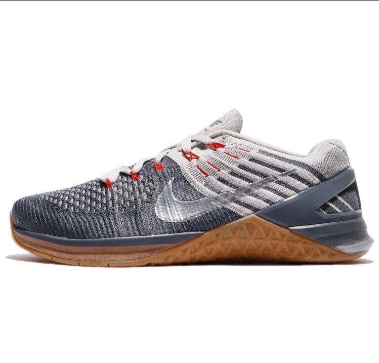 Nike Mens Metcon DSX Flyknit Dark Grey Metallic Silver 852930-012 Training Sz 15