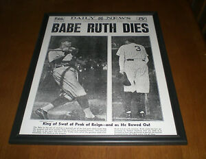 1948 Yankees Babe Ruth Dies Framed 11x14 Newspaper Print Ebay