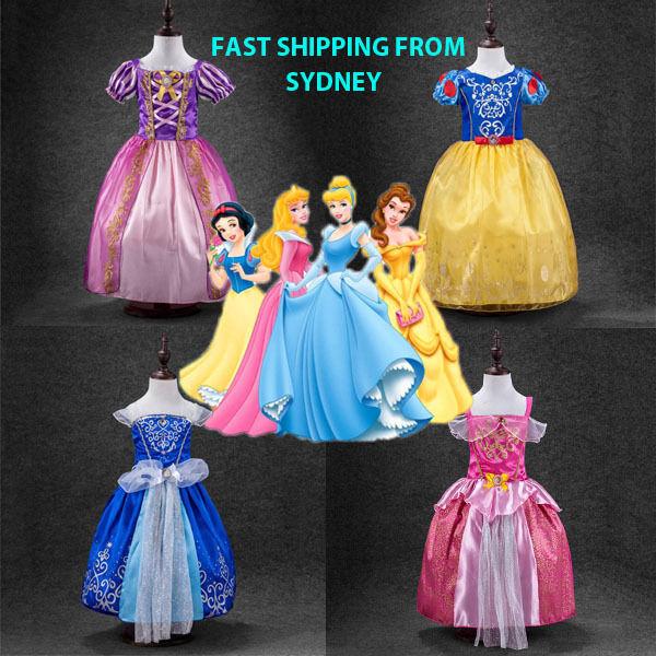 Girl Dress Costume Snow White, Aurora, Rapunzel, Cinderella, Sofia size 2-10
