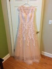 Peach Tulle Appliques Wedding Dresses 2016 Cap Sleeve Lace Bridal Gowns size 14