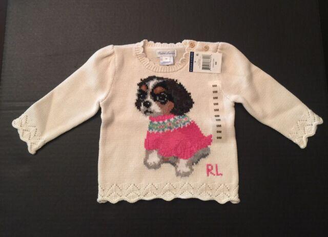 Ralph Lauren Infant Girls Essex Cream Ls Puppy Dog Sweater 9 Months