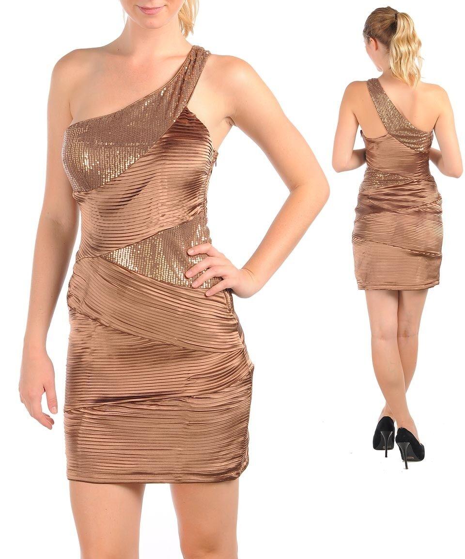 damen DRESS formal Cocktail metallic bronze satin one shoulder fitted S M L