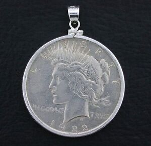1922 peace silver dollar pendant sterling silver bezel mounting ebay image is loading 1922 peace silver dollar pendant sterling silver bezel mozeypictures Choice Image