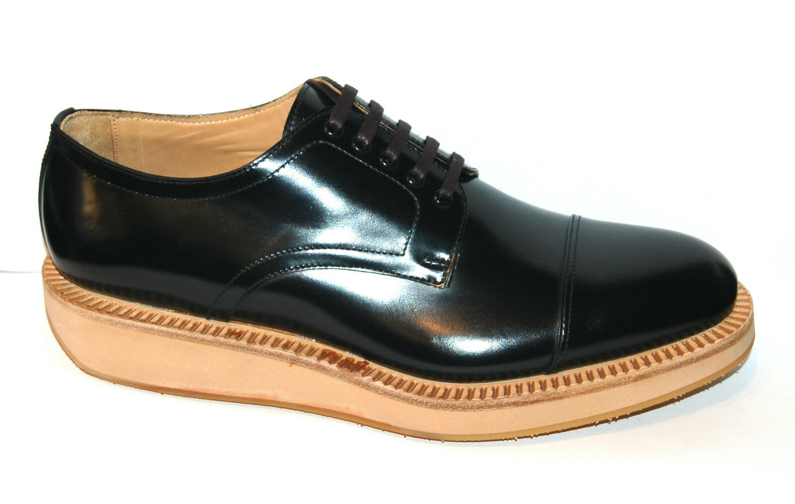 MAN DERBY - 9eu - BLACK CALF - WELTED LEATHER SOLE + MICRO WEDGE - BLAKE