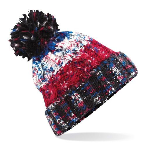 Beechfield BC486 Pom Pom Winter Warm Woolly Chunky Knitted Beanie Hat