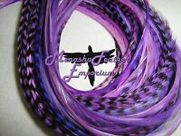 Feather Extensions Purple Lavender Iris Lilac Solid Grizzly Beads 41p Kit Xlong
