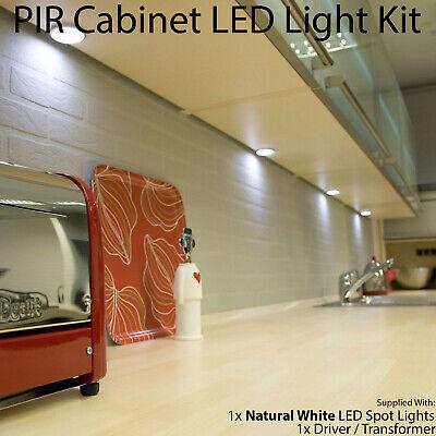 Auto On Off Led Kit 1 In Under Cabinet Kitchen Light Pir Motion Sensor Detector 5056199803583 Ebay