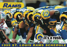 1999 ST. LOUIS RAMS FOOTBALL POCKET SCHEDULE