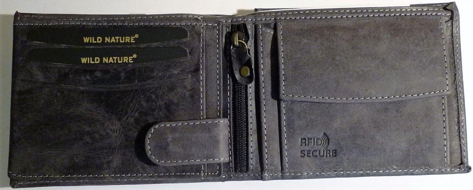 + Wild Nature Geldbörse aus Büffelleder RFID-Schutz Anthrazit D305B