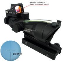 ACOG Style Real Fiber Optic Green Illuminated 4x32 Rifle Scope W/2 Mounts