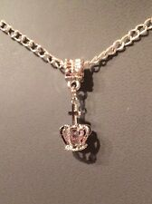 Stunning Jewel Encrusted Crown Pendant Necklace Handmade Silver Plated Chain