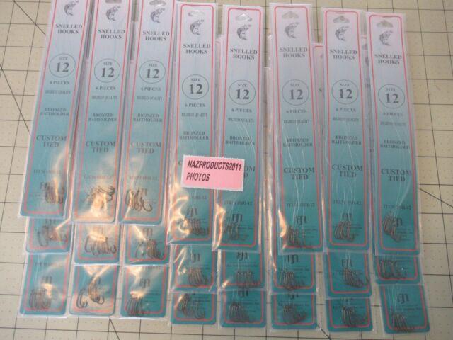 144 FISH HOOKS DOLPHIN BRAND SIZE 12 SNELLED BRONZE BAITHOLDER HOOKS 24 PKS