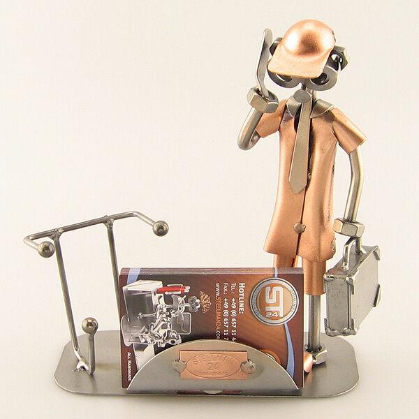 Schraubenmännchen Golden Handyman mit Visitenkartenhalter Handy 0026v