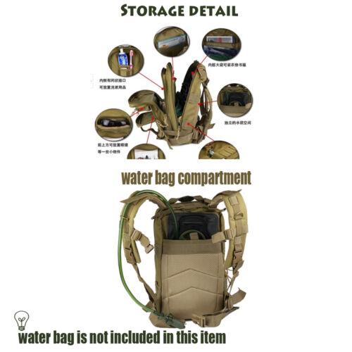 Outdoor Hinking Sports Travel 3P Tactical Backpack Military Bag Rucksack Tan