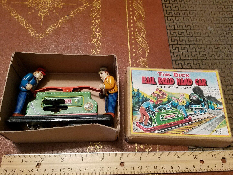 Vintage Estaño Wind Up Rail Road mano coche hecho en Japón en caja juguete de estaño Lote exelo