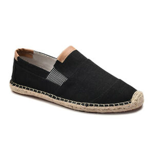 Mens-Comfortable-Slip-On-Loafers-Casual-Flat-Shoes-Breathable-Linen-Boat-Shoes