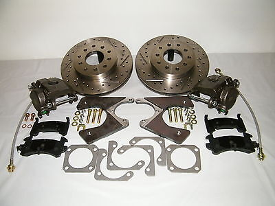 GM 10 & 12 Bolt Rear Disc Brake Conversion Kit Drilled & Slotted Rotors