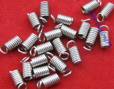 100pcs Silver Plated End Cap Crimp Beads Findings  SH449
