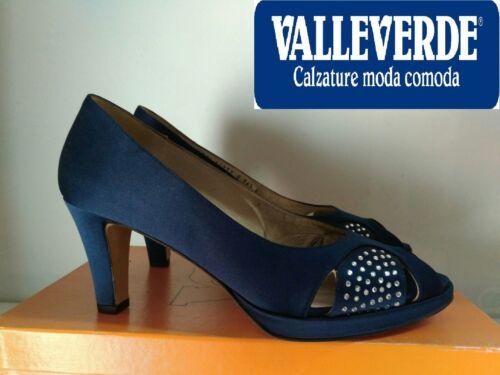 Raso Valleverde Nuovo Donna 5 Decoltè Spuntato Elegante Plantare Pelle Blu N°36 11C4Ywq6