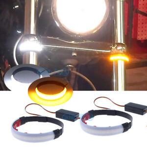 Motorcycle LED Fork Turn Signal Indicator Lights For Sportbike Cruiser Blinkers