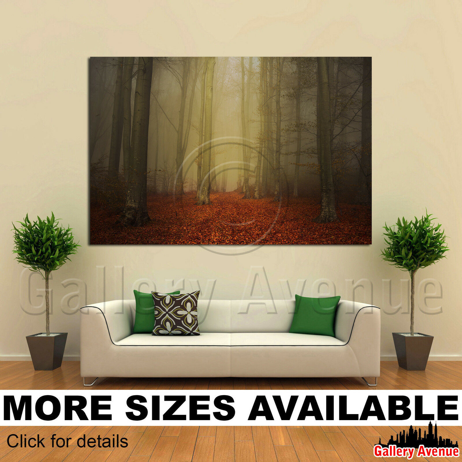 A Wall Art Canvas Picture Print - Forest Fog Autumn Trees 3.2