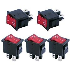 5pcs Red Light Illuminated Snap In Boat Rocker Switch Toggle Power Dpst On Off 4