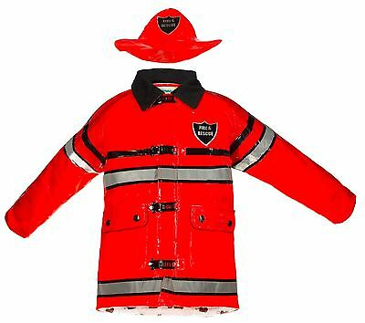 Splashy Kids Rainwear - Fireman, Firefighter, Rain Jacket & Hat, Size 4 - Red