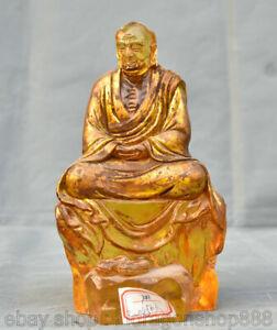 Sculpture-Lohan-de-Bouddhiste-Feng-Shui-de-8-034-vieille-Chine-coloree-Glaze