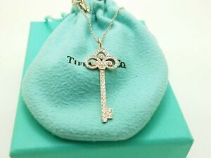 Tiffany Co Rose Gold Fleur De Lis Diamond Key Pendant 18 In Chain Ebay