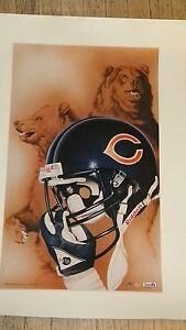Chicago-Bears-Vintage-NFL-Football-20x30-Helmet-print-Rare-Retired