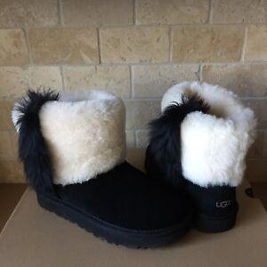 0e0bf3e02e3 Details about UGG Classic Mini Wisp Cuff Black Suede Sheepskin Ankle Boots  Size 8 Womens