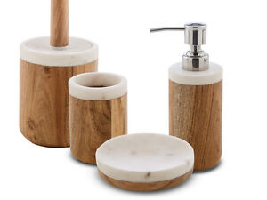 Accessori Bagno In Legno : Kit accessori arredo bagno legno e marmo bianco prajat collezione