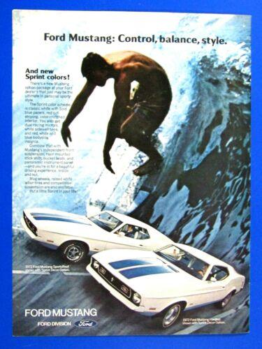 "1972 Mustang Sprint Fastback /& Hardtop Surfing Original Print Ad-8.5 x 11/"""