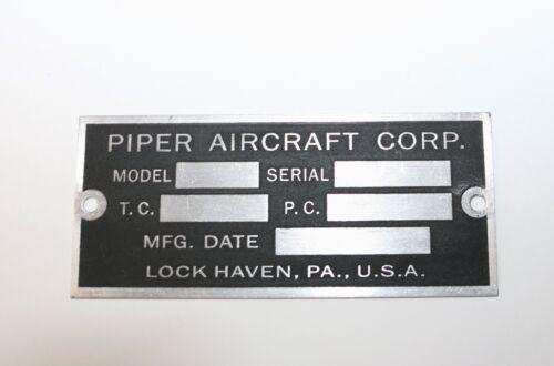 Wow! Piper J3 Cub Data Plate Lock Haven