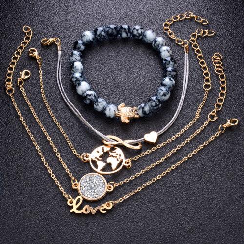 5Pcs Set Bohême Bracelet Tortue Marine Carte du Monde Chaîne Corde Bijoux Mode