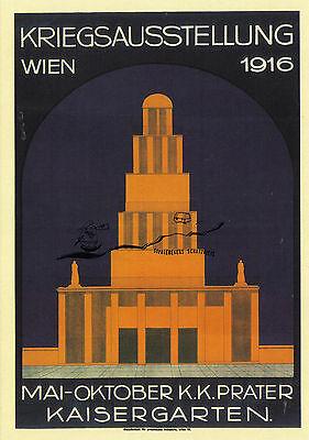"""Kunstkarte: Plakat """"kriegsausstellung Wien 1916 """" Ort: Prater, Kaisergarten"""
