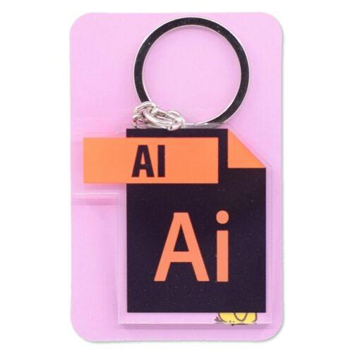 Photoshop Illustrator Icon Keychain double sided Photoshop logo Key Tag PS AI