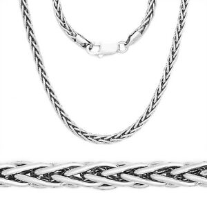 2.2mm 925 Italy Sterling Silver Wheat Spiga Rope Link Chain Necklace Solid NEW