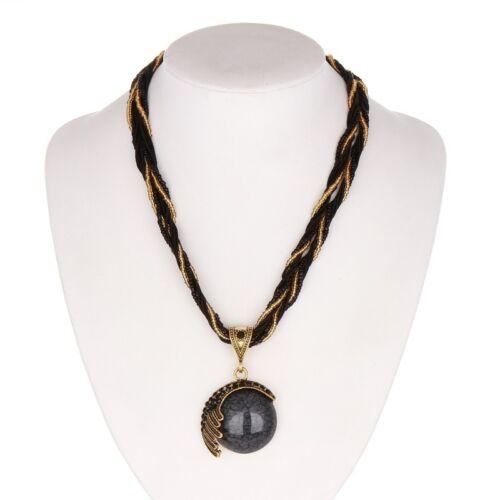 Femme Collier original pendentif chaîne noir lien Fashion Jewelry