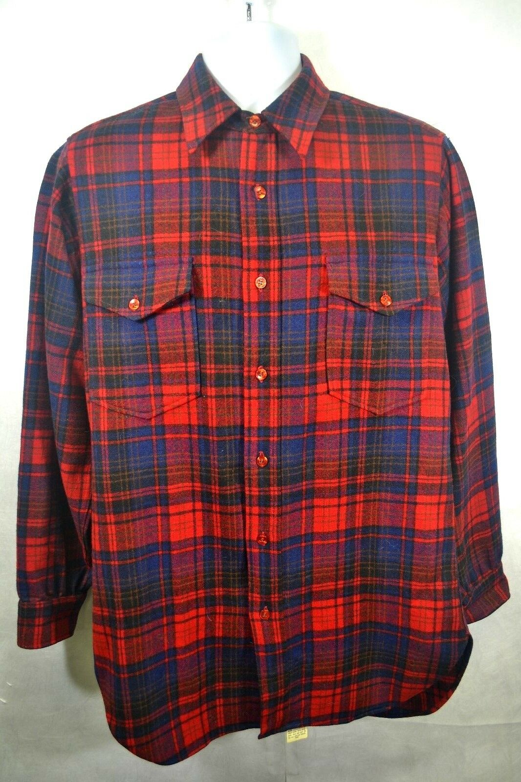 PENDLETON 100% Virgin Wool Long Sleeve Mens Sz 15.5 Plaid Shirt