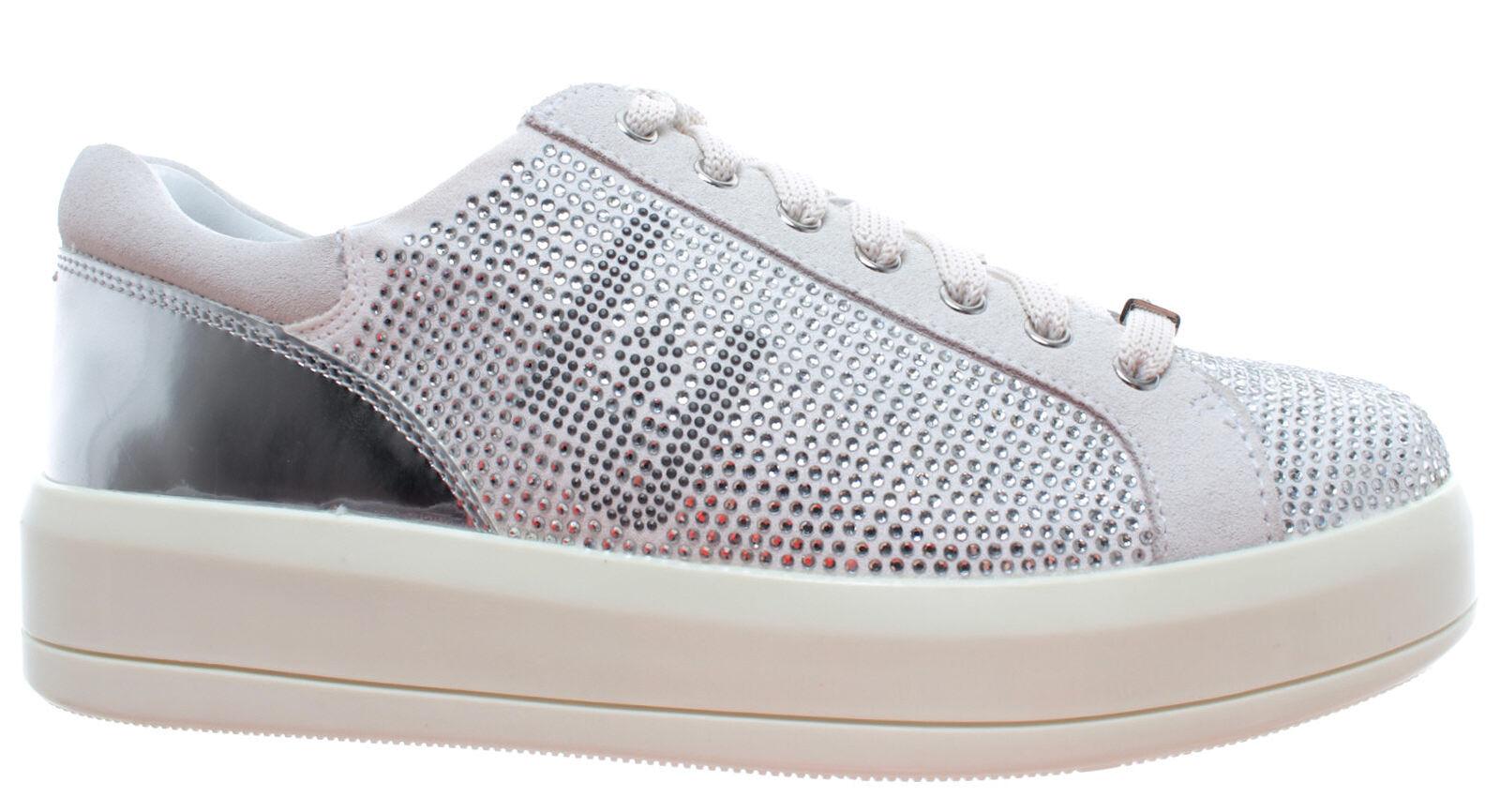 LIU JO Milano Women's shoes Sneakers Sneakers Sneakers Kim07 Lace Up Microfiber Cow Suede White 133467