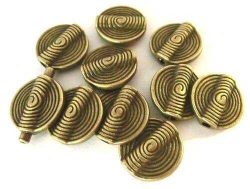 10 Spacer 15,5mm Schnecken Metallperlen Zwischenelement Farbe bronze #S348