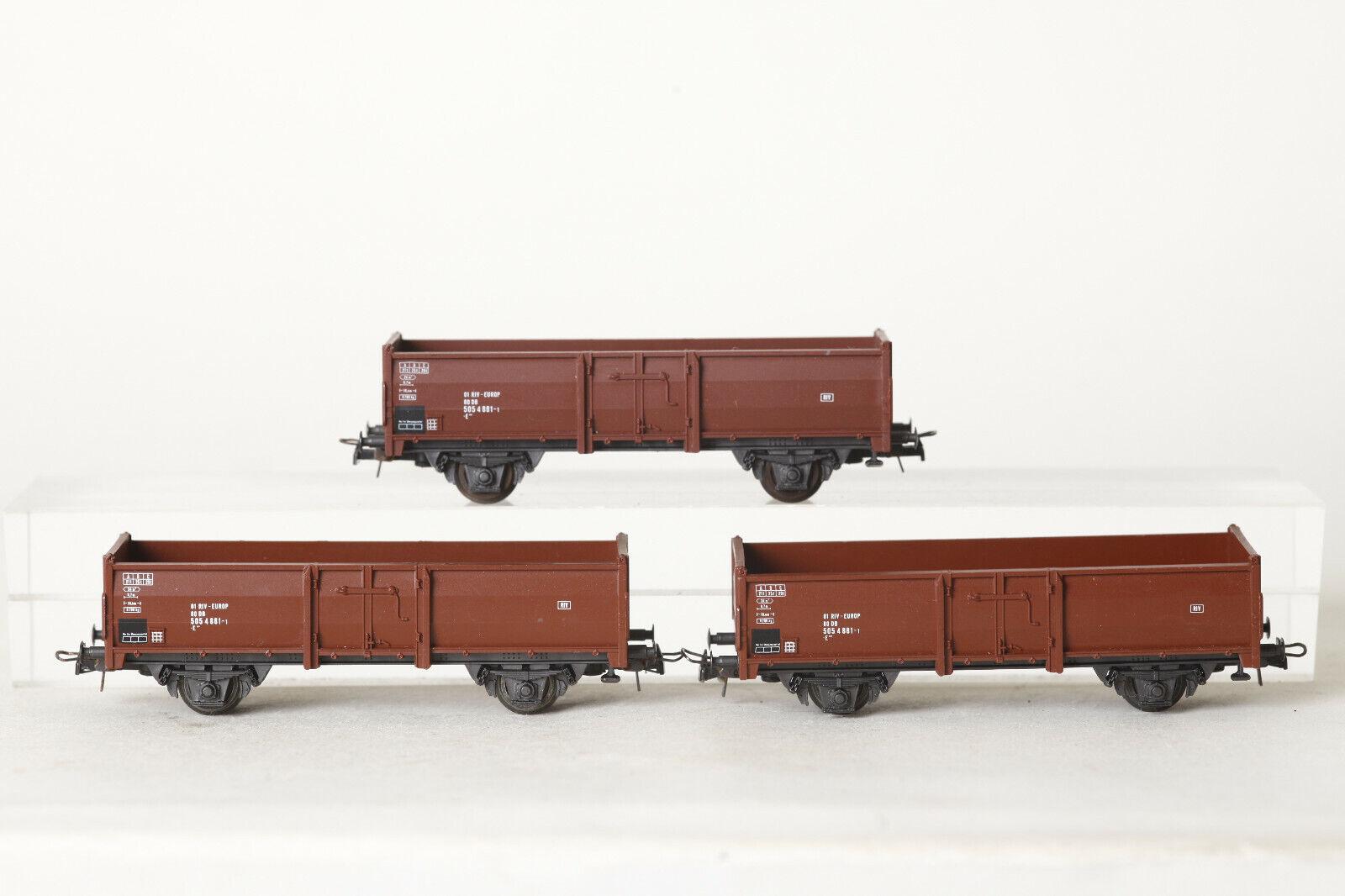 Roco H0  3x Hochbordwagen 505 4 881-1 Güterwagen  01 RIV -Europ (105910)