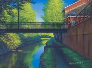 Original Acrylic Painting Pedestrian Bridge 18x24 Landscape by Timothy Stanford