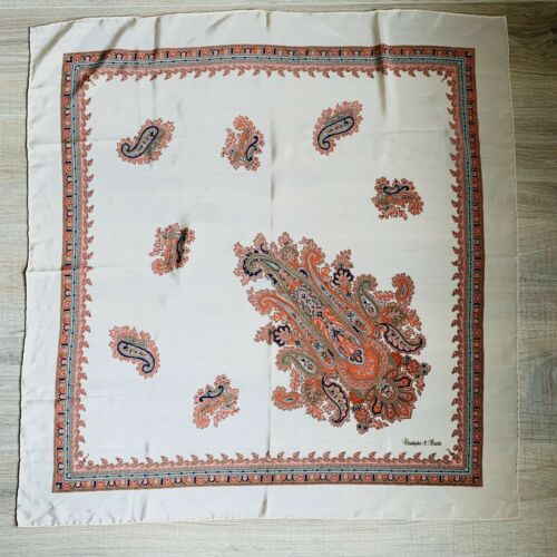 Christopher & Banks Square Paisley Beige Scarf 34… - image 1